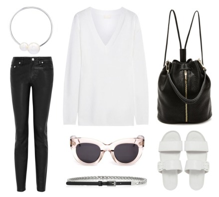 Outfit-Flatlay-FOXCeline-Sunglasses-Acne-Leather-Pearl-Necklace-Oracle-Fox